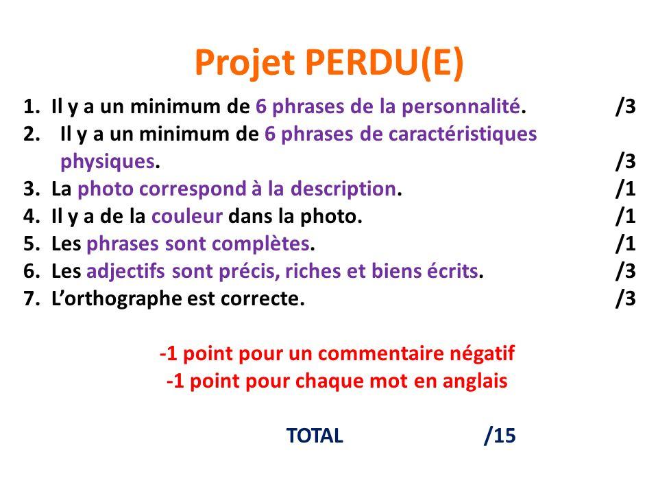Projet PERDU(E) 1. Il y a un minimum de 6 phrases de la personnalité. /3. Il y a un minimum de 6 phrases de caractéristiques.