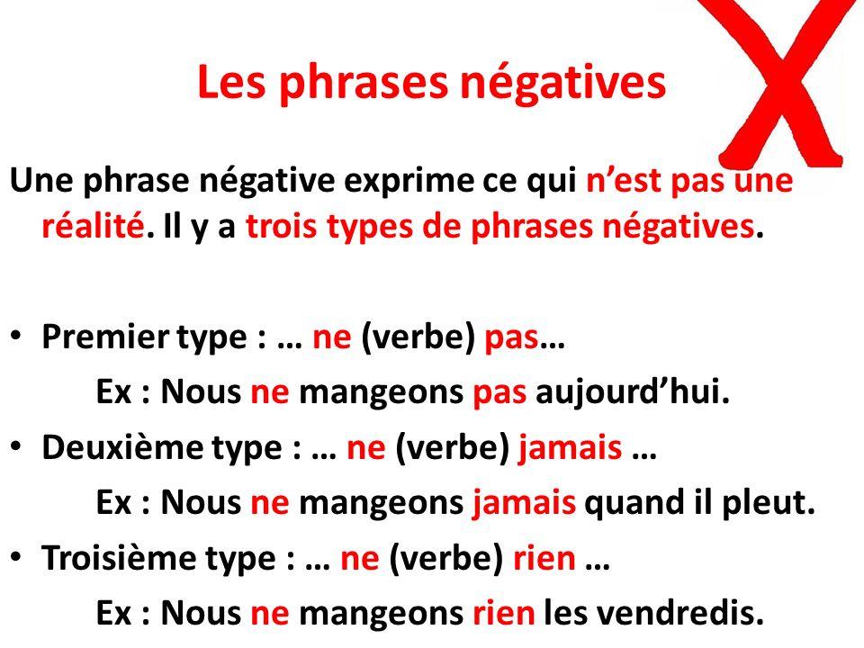 Les phrases négatives Une phrase négative exprime ce qui n'est pas une réalité. Il y a trois types de phrases négatives.