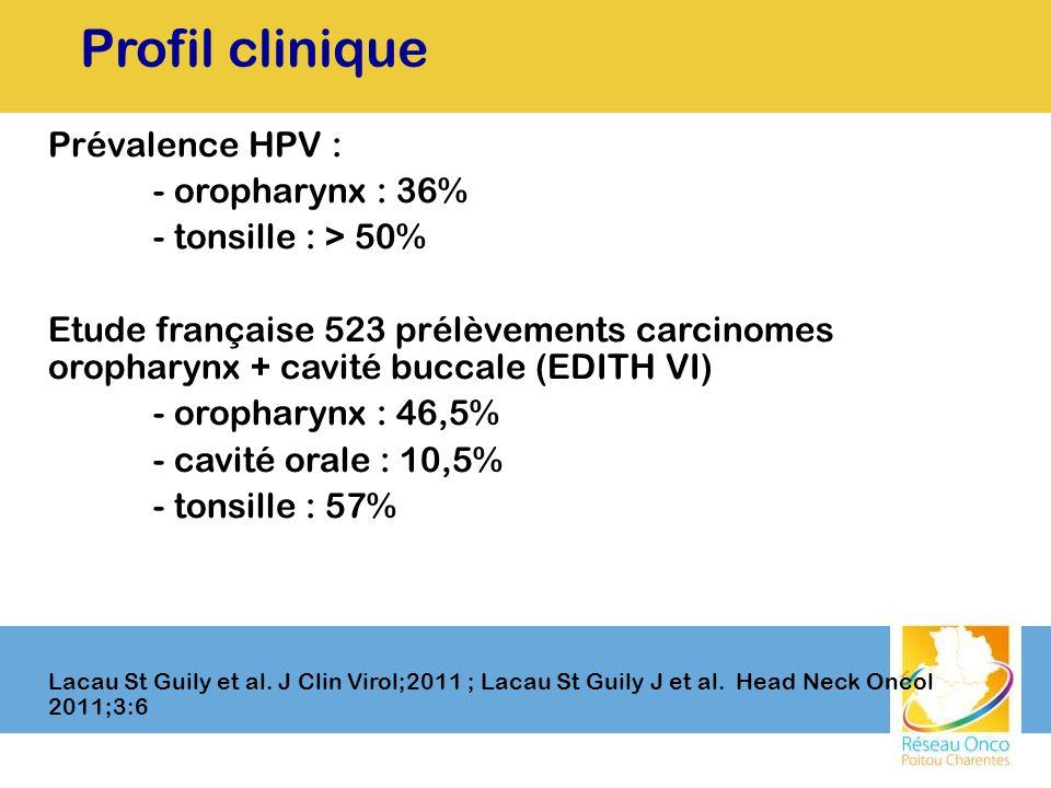Profil clinique Prévalence HPV : - oropharynx : 36%