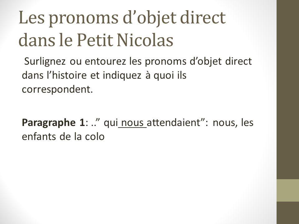 Les pronoms d'objet direct dans le Petit Nicolas
