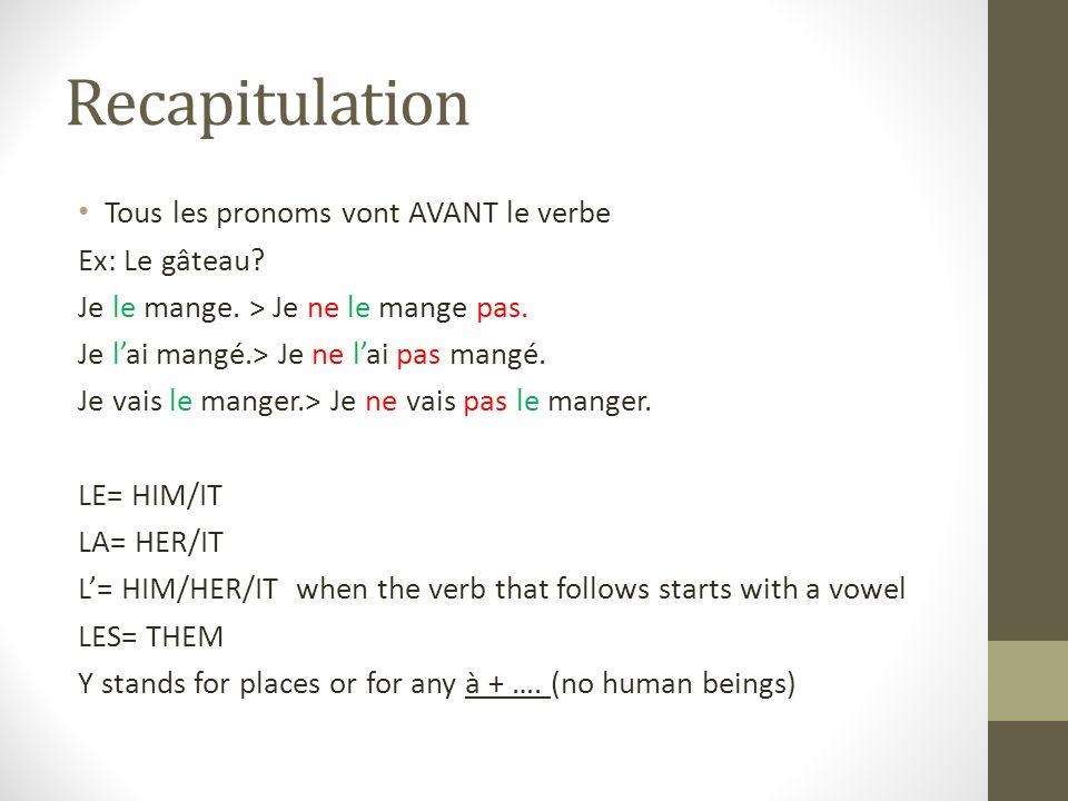 Recapitulation Tous les pronoms vont AVANT le verbe Ex: Le gâteau