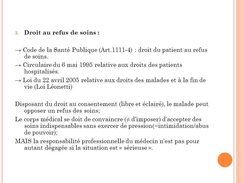 Droit au refus de soins :