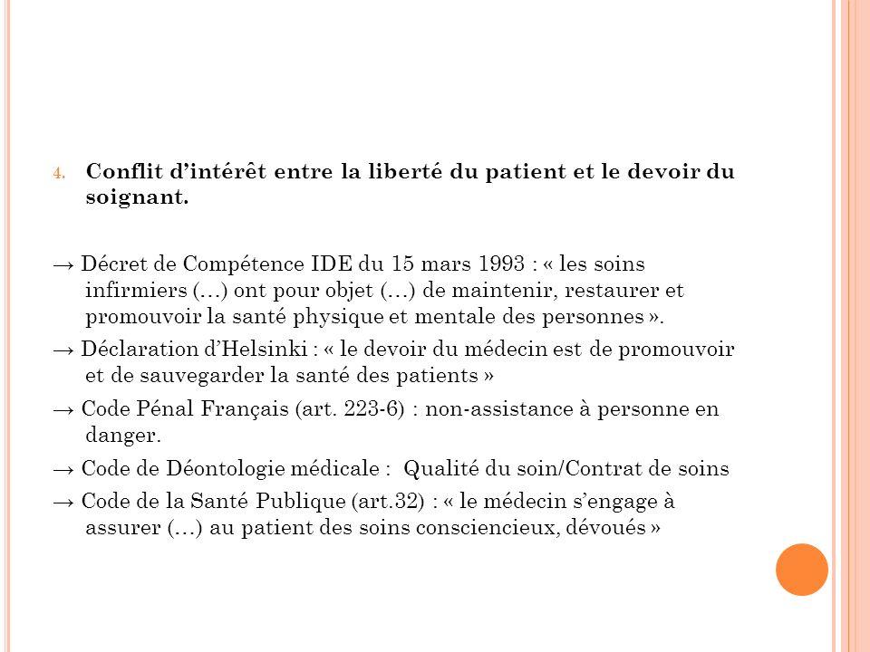 Conflit d'intérêt entre la liberté du patient et le devoir du soignant.