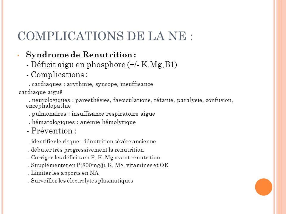 COMPLICATIONS DE LA NE :