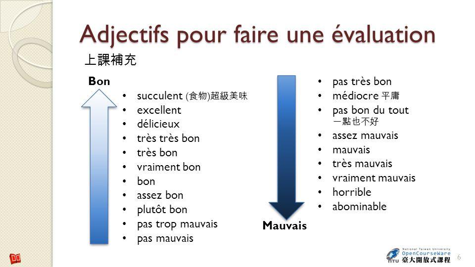 Adjectifs pour faire une évaluation