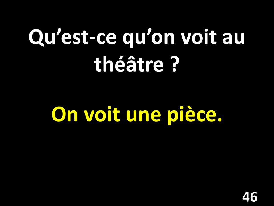 Qu'est-ce qu'on voit au théâtre