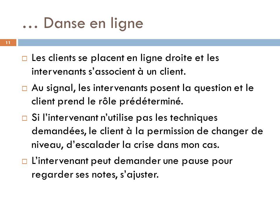 … Danse en ligne Les clients se placent en ligne droite et les intervenants s'associent à un client.