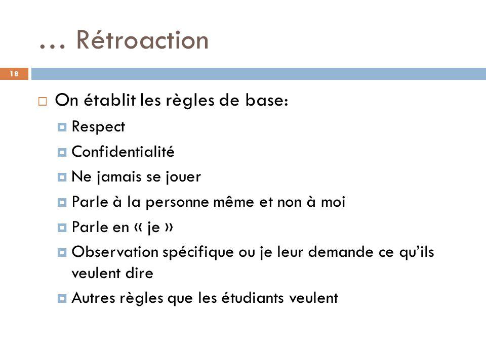… Rétroaction On établit les règles de base: Respect Confidentialité