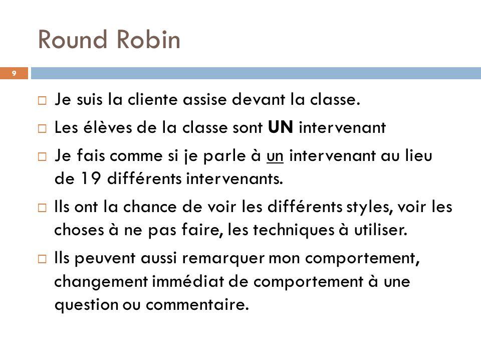 Round Robin Je suis la cliente assise devant la classe.