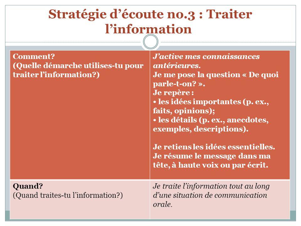 Stratégie d'écoute no.3 : Traiter l'information