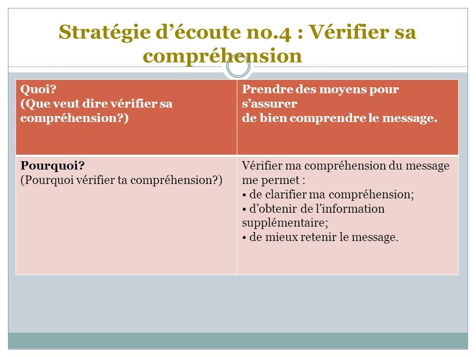 Stratégie d'écoute no.4 : Vérifier sa compréhension
