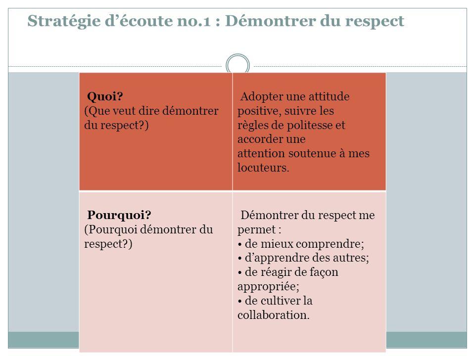 Stratégie d'écoute no.1 : Démontrer du respect