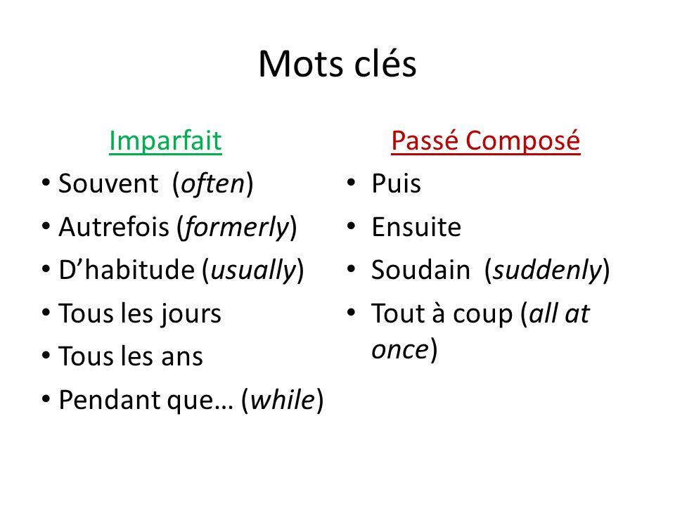 Mots clés Imparfait Passé Composé Souvent (often) Puis