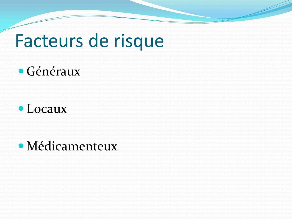 Facteurs de risque Généraux Locaux Médicamenteux
