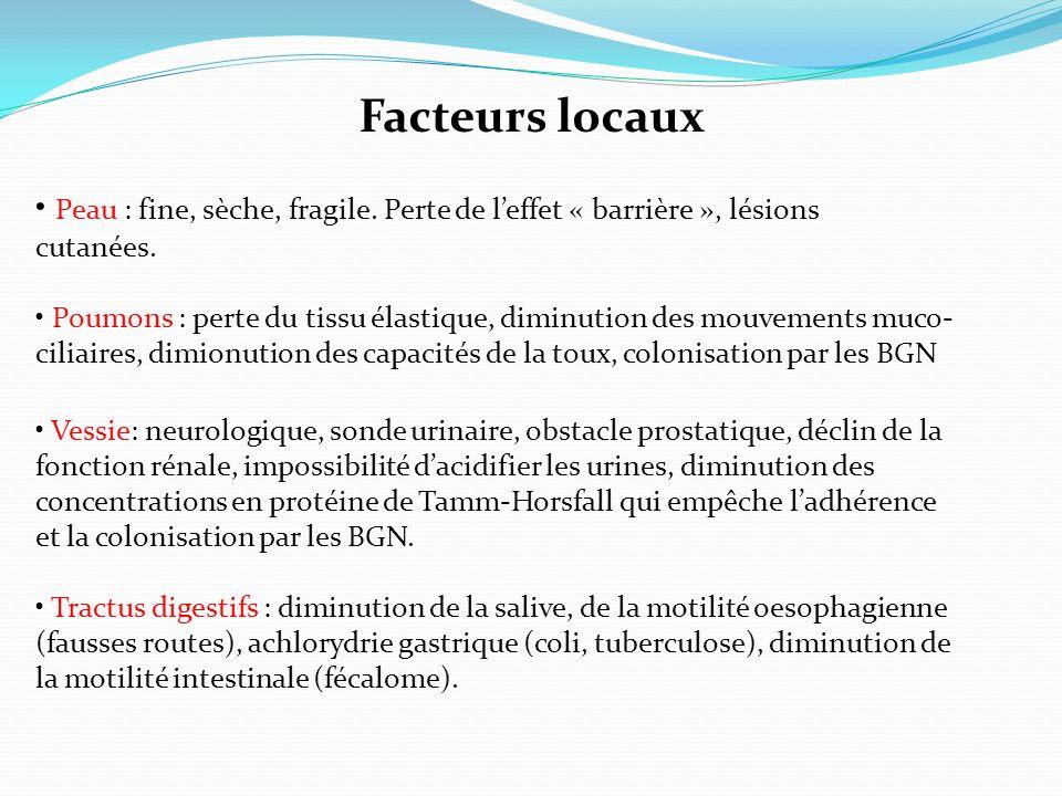 Facteurs locaux • Peau : fine, sèche, fragile. Perte de l'effet « barrière », lésions. cutanées.