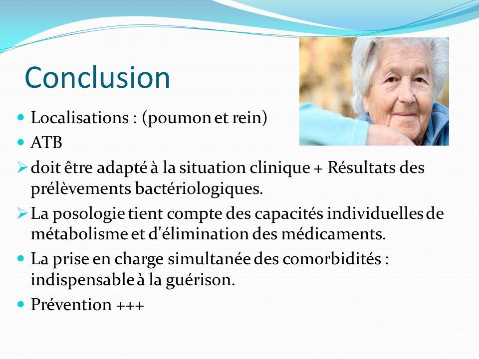 Conclusion Localisations : (poumon et rein) ATB