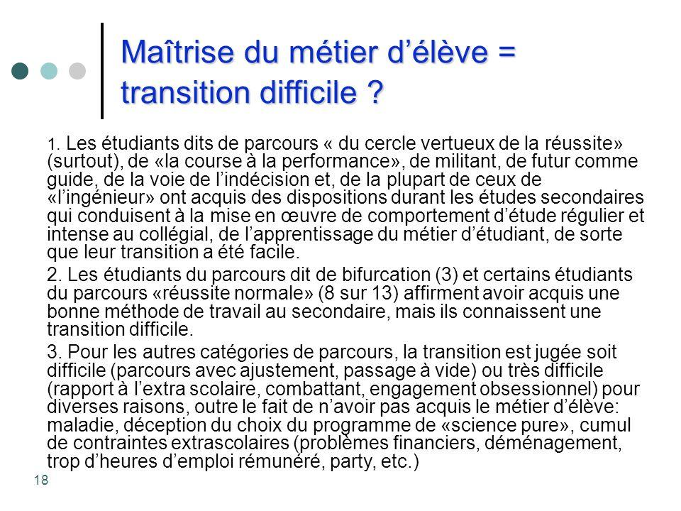 Maîtrise du métier d'élève = transition difficile