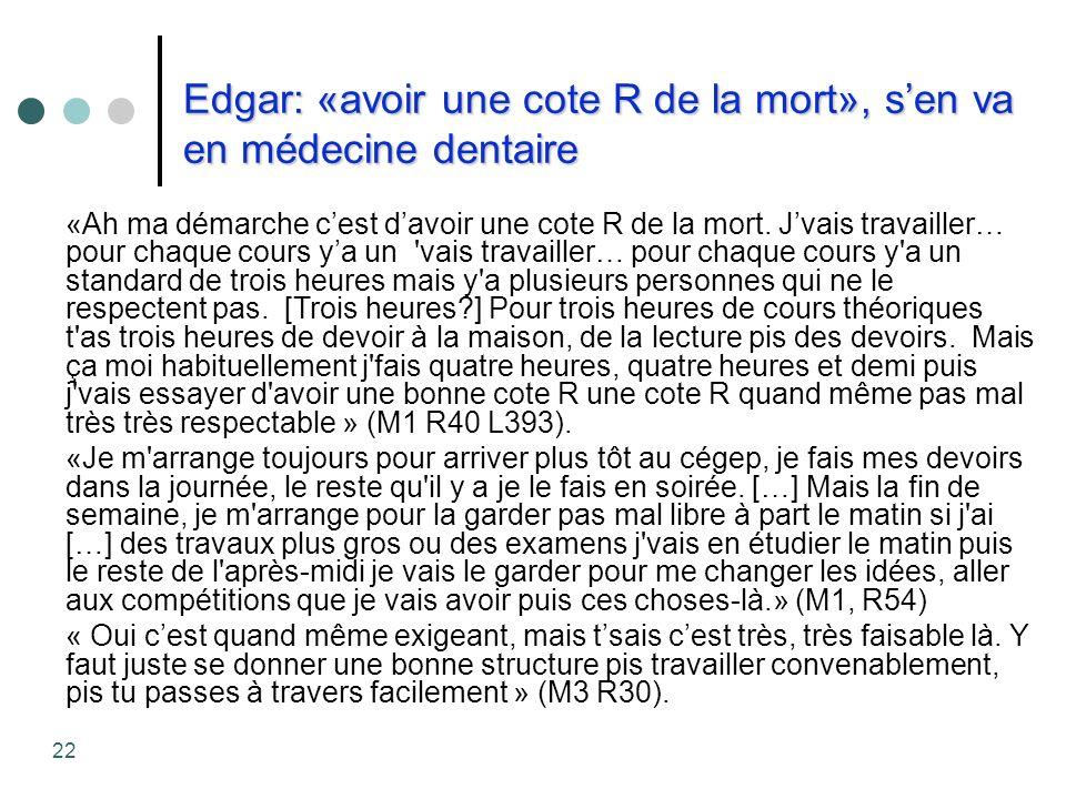Edgar: «avoir une cote R de la mort», s'en va en médecine dentaire