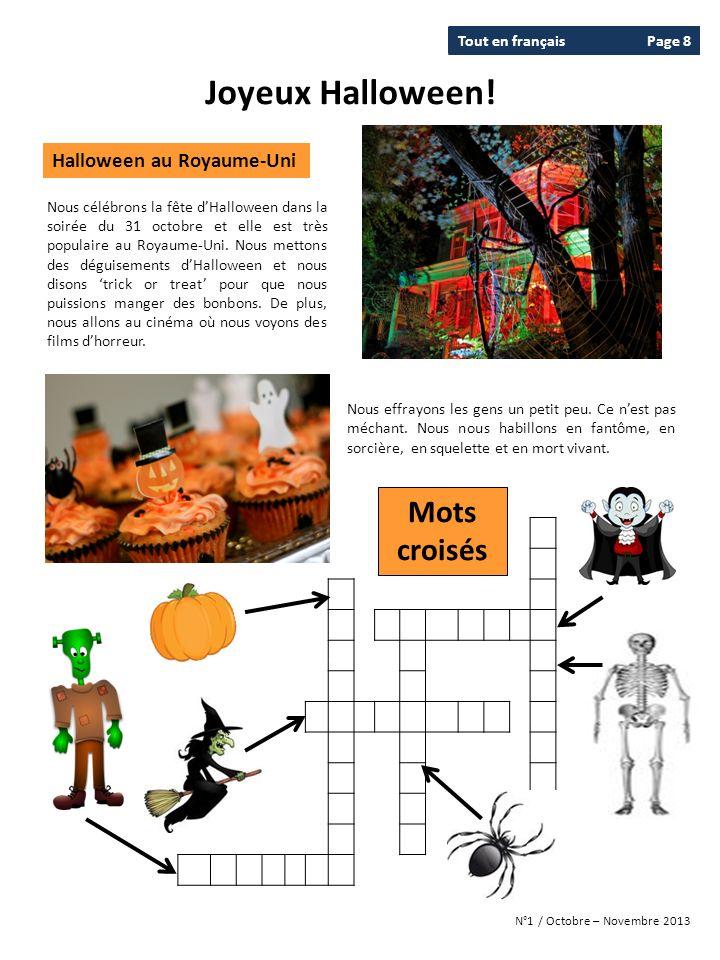 Joyeux Halloween! Mots croisés Halloween au Royaume-Uni