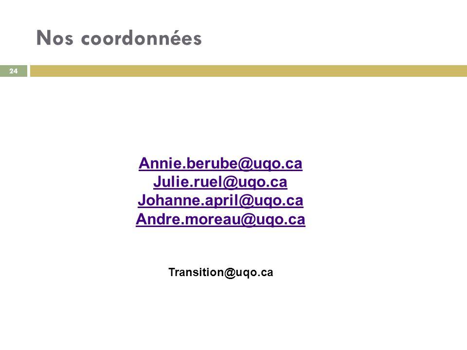 Nos coordonnées Annie.berube@uqo.ca Julie.ruel@uqo.ca