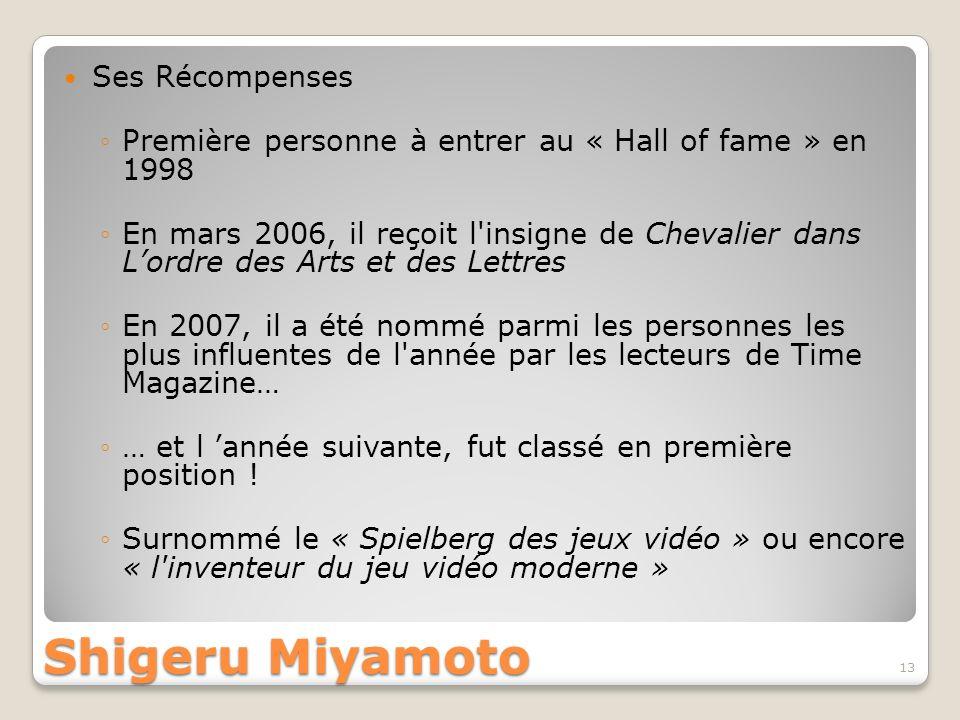 Shigeru Miyamoto Ses Récompenses