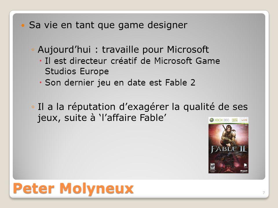 Peter Molyneux Sa vie en tant que game designer