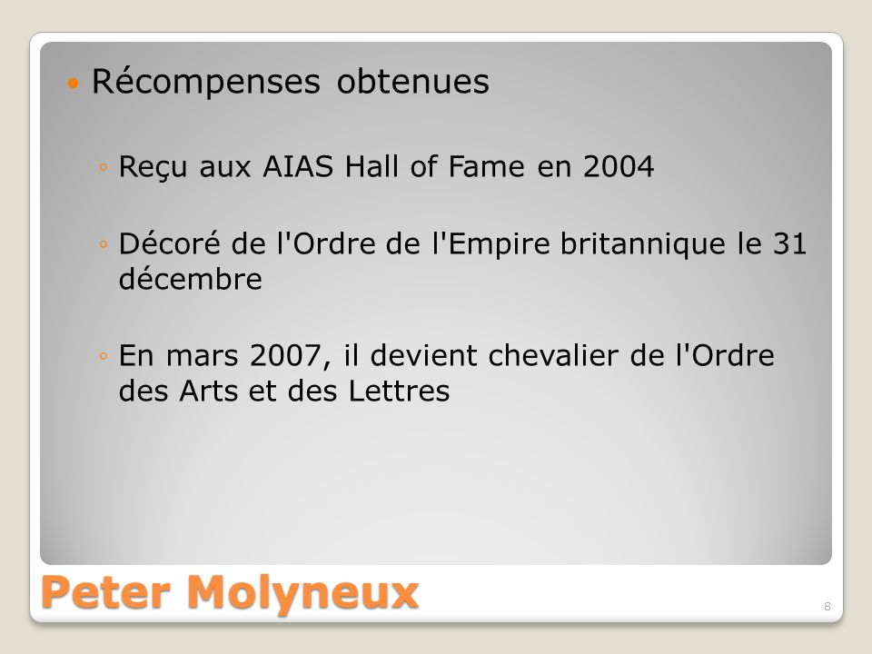 Peter Molyneux Récompenses obtenues Reçu aux AIAS Hall of Fame en 2004