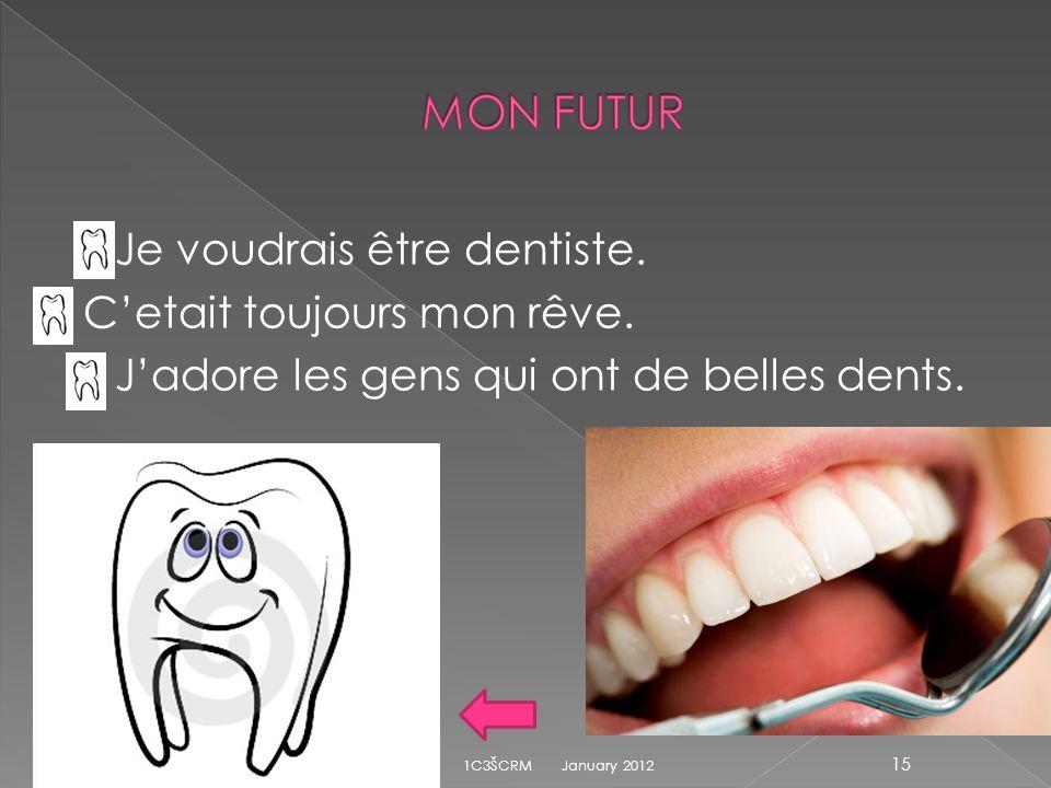 MON FUTUR Je voudrais être dentiste. C'etait toujours mon rêve.