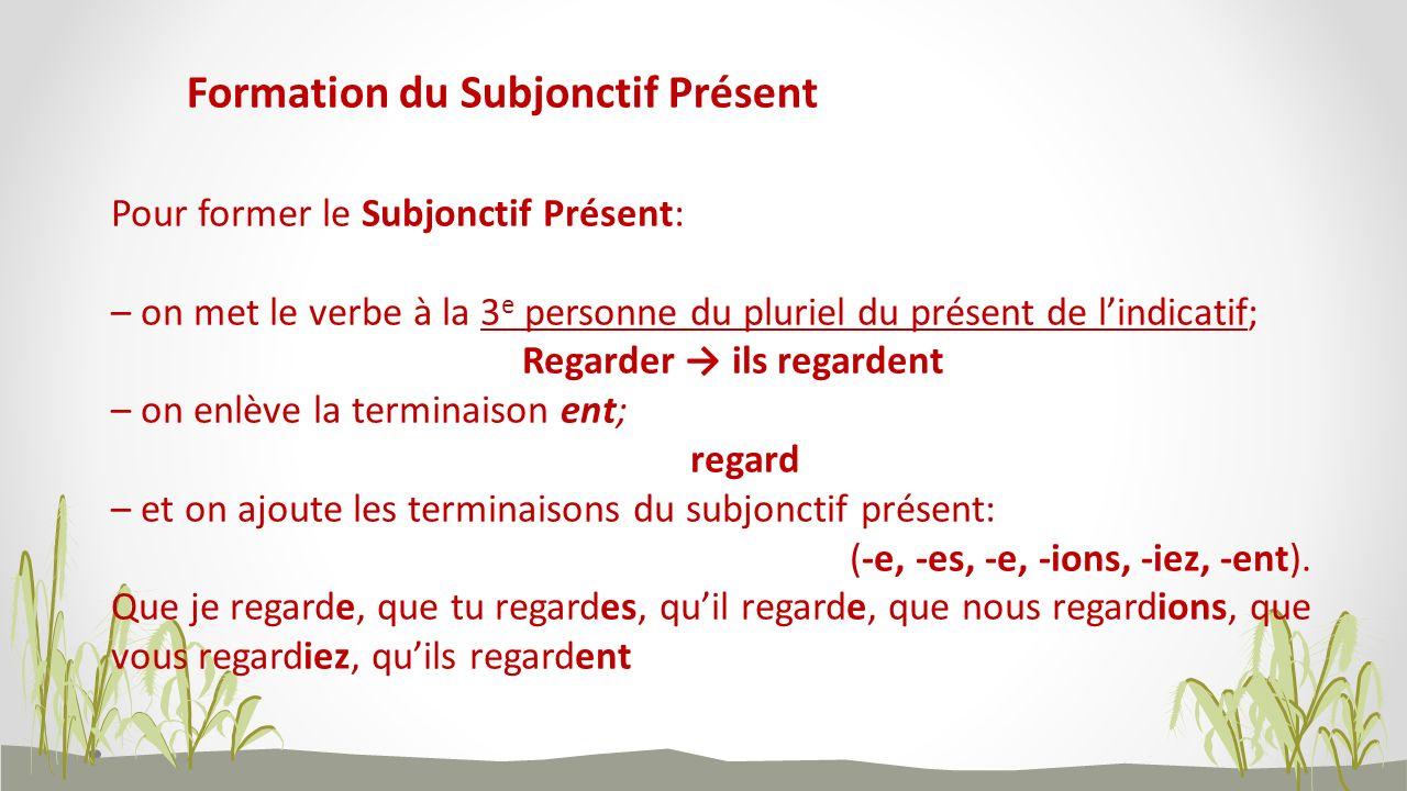 Formation du Subjonctif Présent