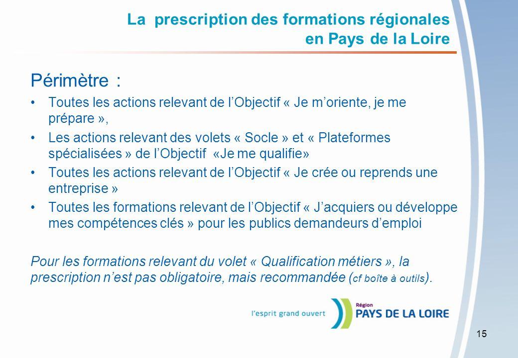La prescription des formations régionales en Pays de la Loire