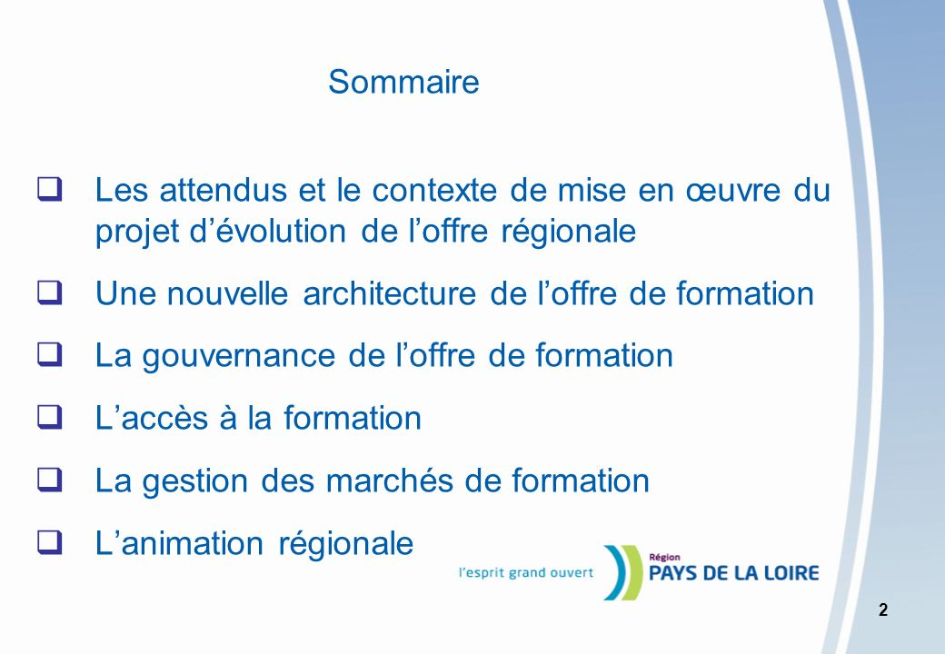 Sommaire Les attendus et le contexte de mise en œuvre du projet d'évolution de l'offre régionale.