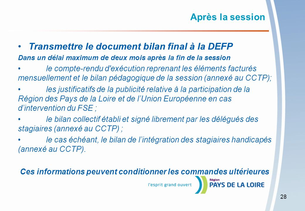 Transmettre le document bilan final à la DEFP