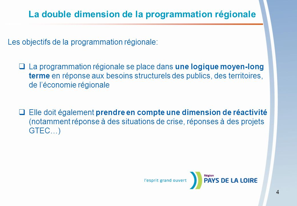 La double dimension de la programmation régionale