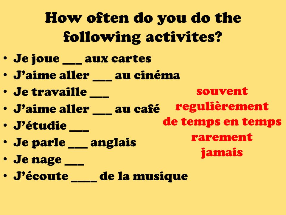 How often do you do the following activites