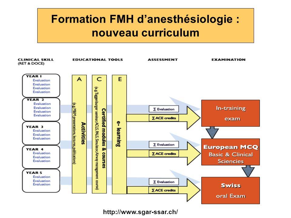 Formation FMH d'anesthésiologie : nouveau curriculum
