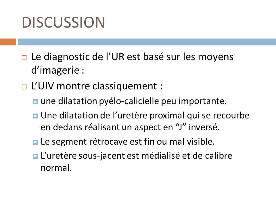 DISCUSSION Le diagnostic de l'UR est basé sur les moyens d'imagerie :