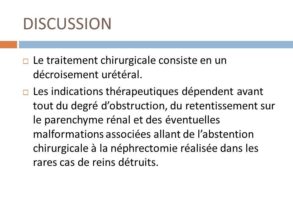 DISCUSSION Le traitement chirurgicale consiste en un décroisement urétéral.