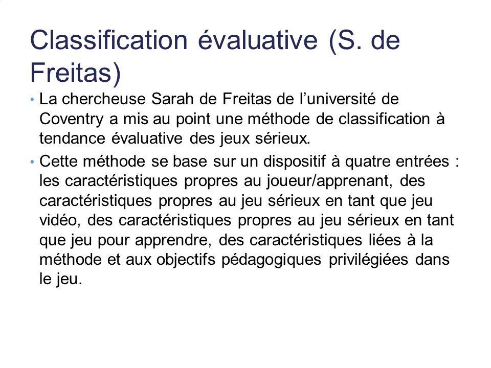 Classification évaluative (S. de Freitas)