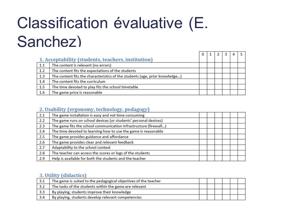 Classification évaluative (E. Sanchez)