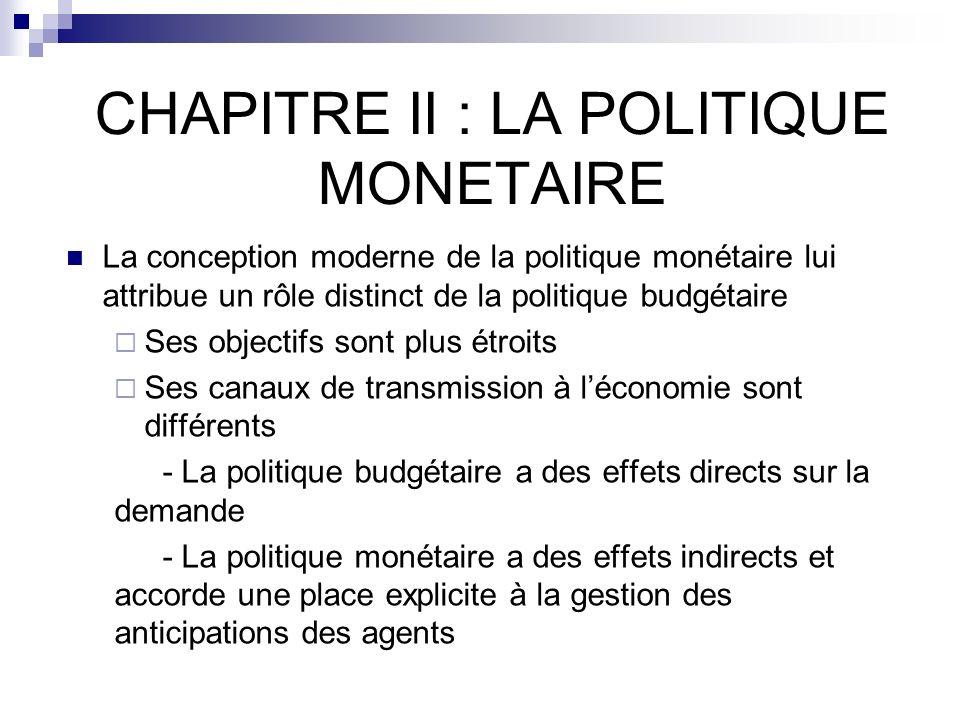 CHAPITRE II : LA POLITIQUE MONETAIRE