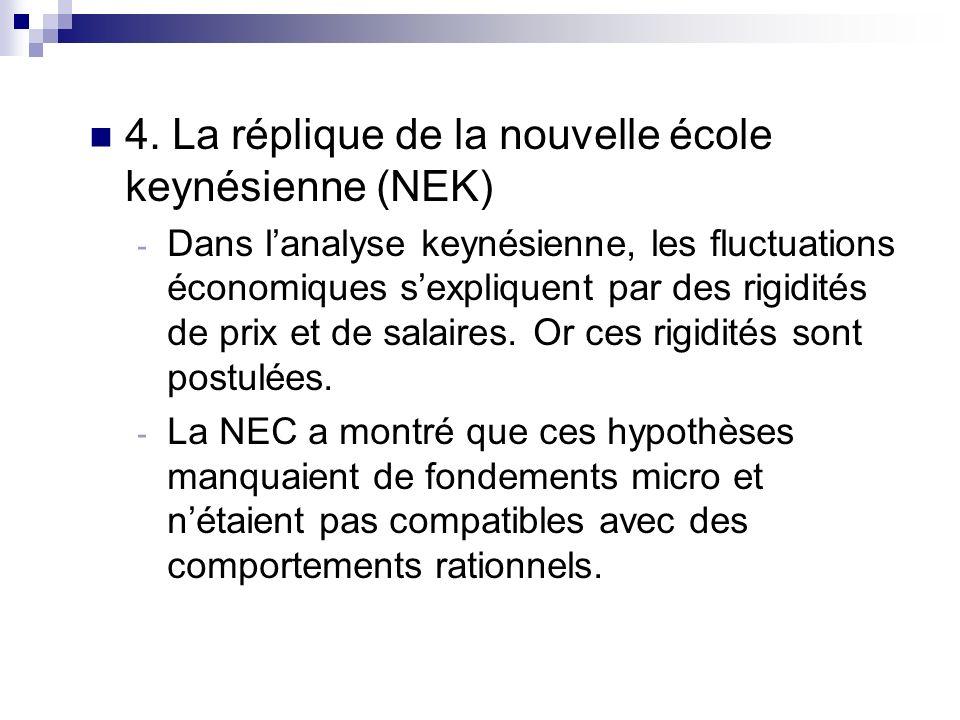 4. La réplique de la nouvelle école keynésienne (NEK)