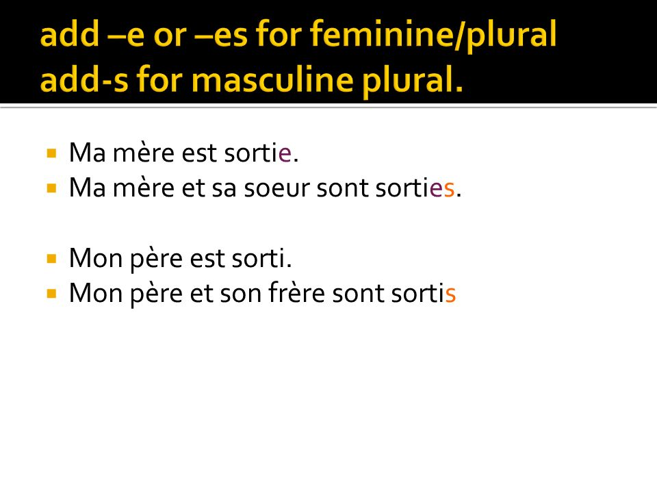 add –e or –es for feminine/plural add-s for masculine plural.