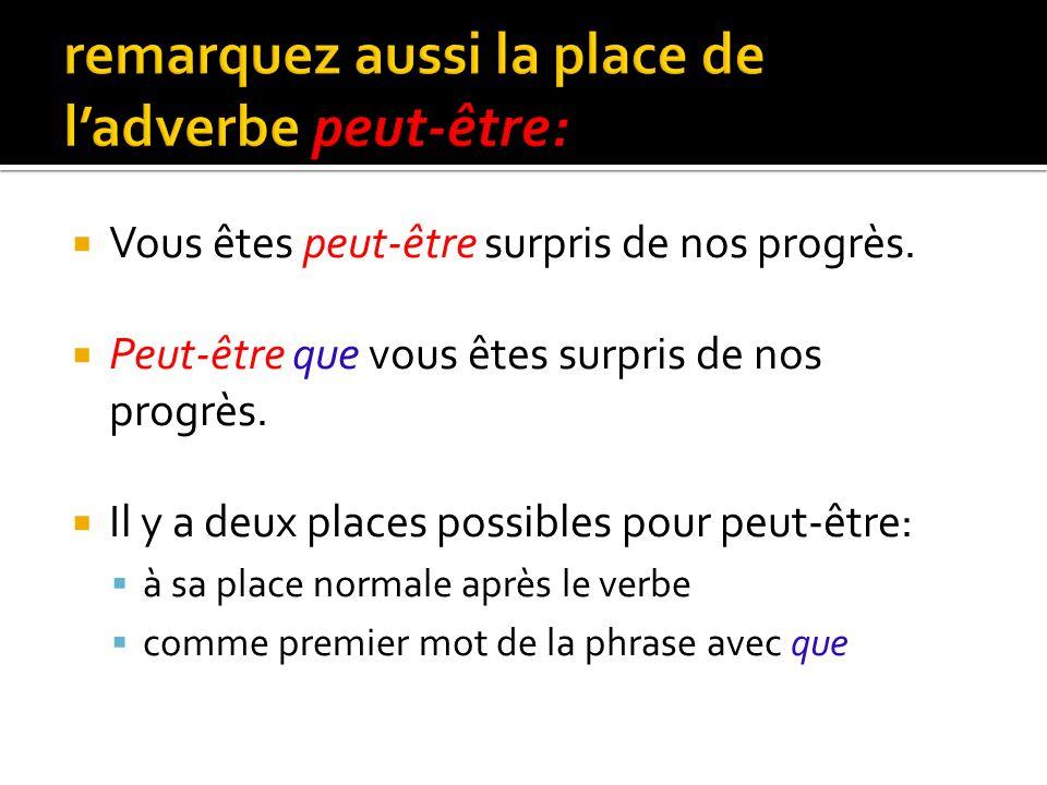 remarquez aussi la place de l'adverbe peut-être: