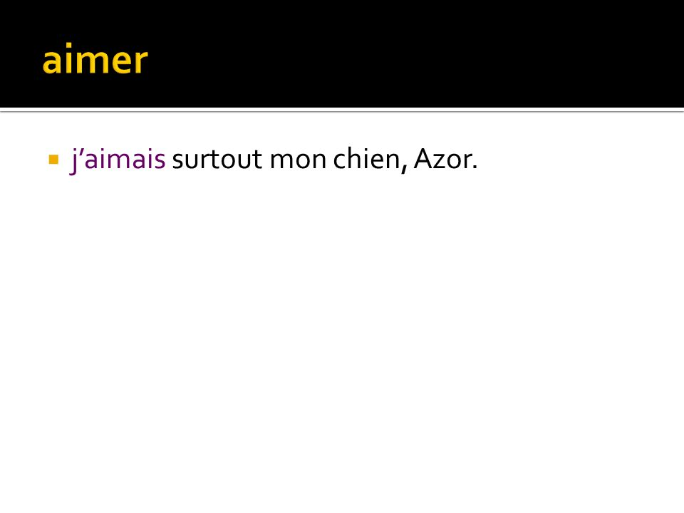 aimer j'aimais surtout mon chien, Azor.