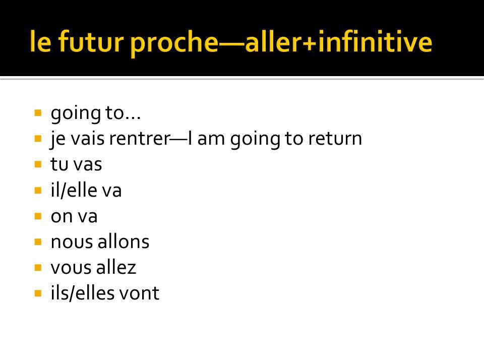 le futur proche—aller+infinitive