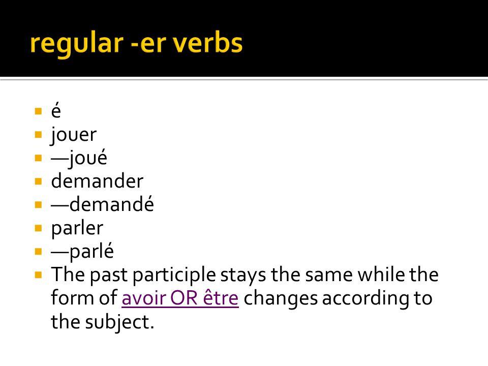 regular -er verbs é jouer —joué demander —demandé parler —parlé
