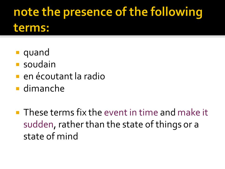 note the presence of the following terms: