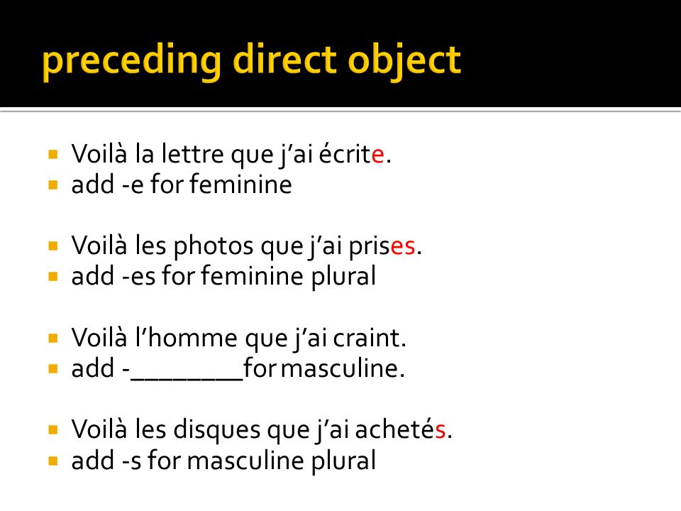 preceding direct object