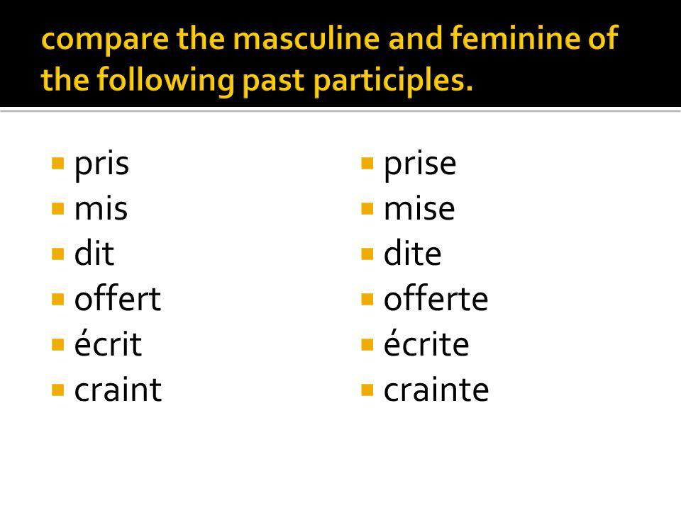 compare the masculine and feminine of the following past participles.