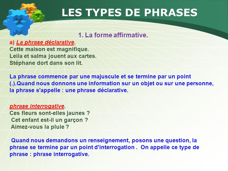 LES TYPES DE PHRASES 1. La forme affirmative.